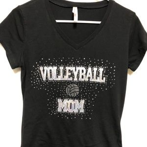 Volleyball Mom Sequins Fitted Fan T-Shirt